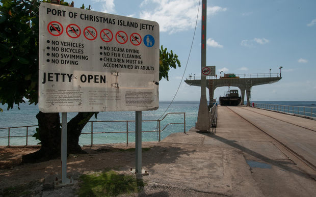 A file photo of the jetty on Christmas Island (August 2013)