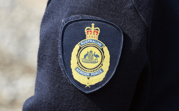 An Australian Border Force emblem on an officer's sleeve in Brisbane.