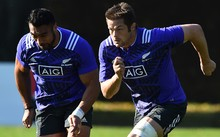 Victor Vito and Richie McCaw at a training session in Cardiff,  earlier this week.