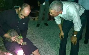 Former US ambassador Mark Gilbert posted an image of Obama coming face-to-face with a kiwi bird.