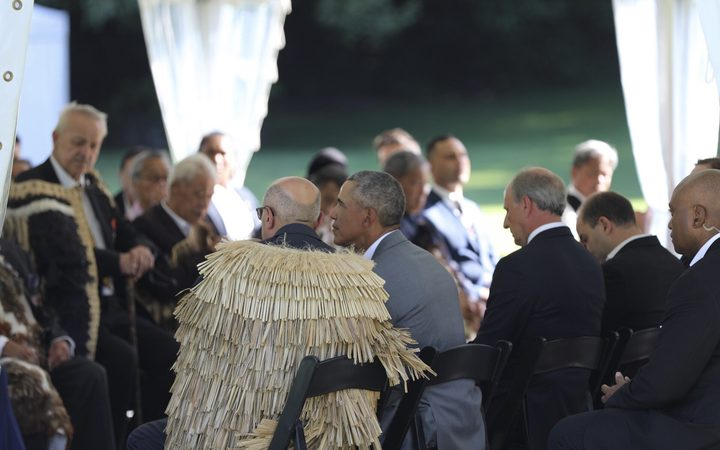 Former US President Barack Obama during this afternoon's pōwhiri.