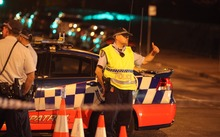 Police at the scene of the fatal shooting in Parramatta on Friday.