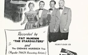 Pat McMinn, The Crombie Murdoch Trio and The Stardusters - advertising Taniwha Blue laundry powder