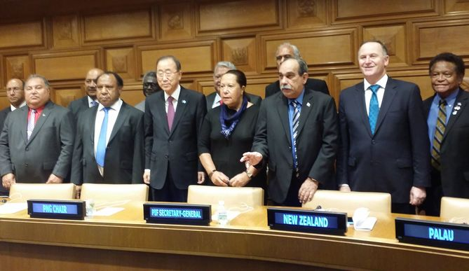 Pacific Islands Forum leaders at the UN.Front row from left: Nauru president Baron Waqa, PNG foreign minister Rimbink Pato, UN secretary-general Ban Ki-moon, Pacific Forum sec-gen Dame Meg Taylor, Federated States of Micronesia president Peter Christian, New Zealand prime minister John Key.