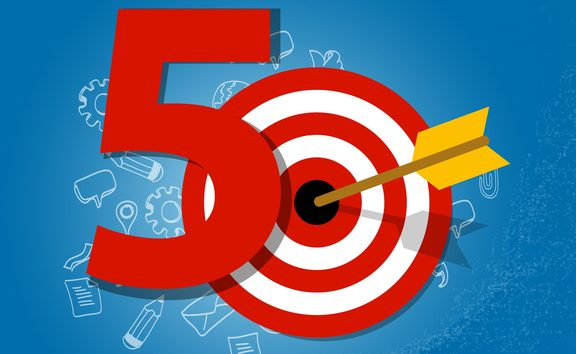 58228242 - fifty years target in business calendar list of achievement
