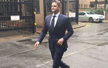 Cairns leaving Southwark Crown Court after the first day of his perjury trial