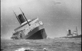 Ship Wahine sinking in Wellington Harbour.