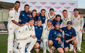 New Zealand cricketers celebrate a series win over England 2018.