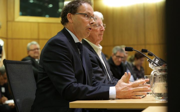 RNZ chief executive Paul Thompson (left) and chair Richard Griffin front up to the Select Committee.