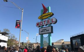 The famed Lorraine Motel sign at the National Civil Rights Museum in Memphis.