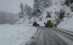 Route 70, the Waiau / Mt Lyford road in Canterbury,closed by snow.