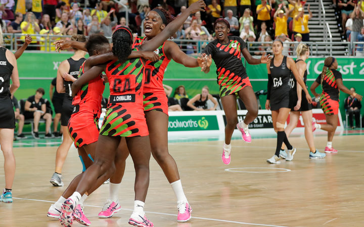 Malawi players celebrate after defeating New Zealand.