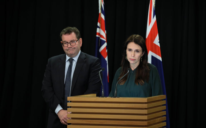 MP Grant Robertson and PM Jacinda Ardern at the Prime Ministers Press Conference
