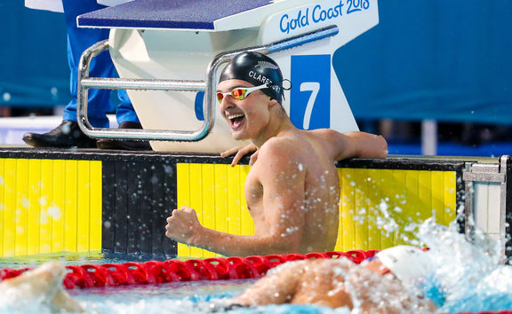 Commonwealth Games - Swimming - Optus Aquatics Centre, Gold Coast, Australia - Lewis Clareburt of New Zealand wins Bronze in the Men's 400m Individual Medley Final. 6 April 2018. Picture by Alex Whitehead / www.photosport.nz