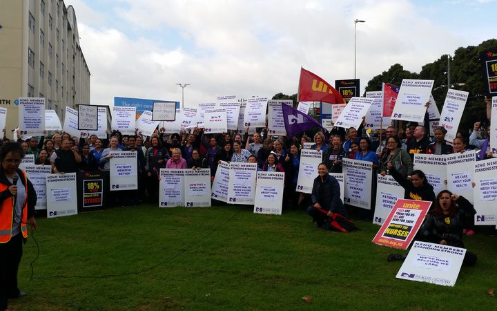 Nurses protest at Middlemore Hospital.
