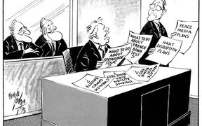 1973 Neville Lodge cartoon in the Evening Post newspaper on the problems facing Norman Kirk's new Labour government.