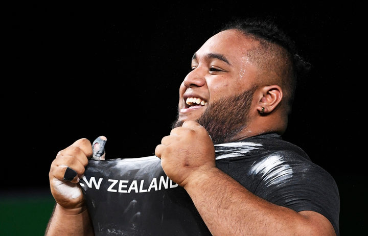 Weightlifter David Liti after winning gold at the Commonwealth Games.