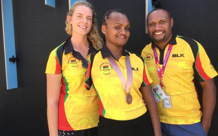 Coach Jessica Richardson, Friana Kwevira and Chef de Mission Mike Masaufakolo