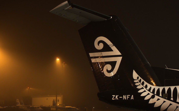 A regional Air New Zealand plane grounded at Auckland Airport due to fog. 6 July 2016