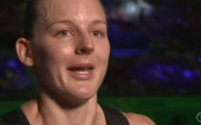 Silver Ferns skipper Katrina Grant broke down in tears when being interviewed by TVNZ reporter Jenny-May Clarkson.