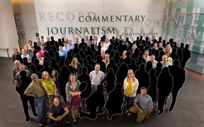 A photo of Denver Post staff in 2013 after the paper won a Pulitzer prize. Those in black have left the paper or been made laid off in the past five years.