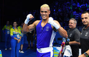 New Zealand's David Nyika after defeating Australia's Jason Whateley in the Men's Heavy 91kg boxing final at Oxenford Studios. 2018 Commonwealth Games, Gold Coast, Australia. Saturday 14 April 2018. © Copyright photo: Andrew Cornaga / www.photosport.nz
