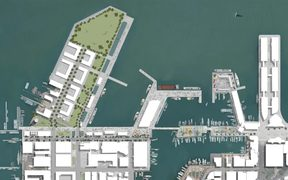 Artist's impression of the $212 million America's Cup village planned for Auckland.