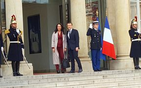 Prime Minister Jacinda Ardern at Elysee Palace with French president Emmanuel Macron