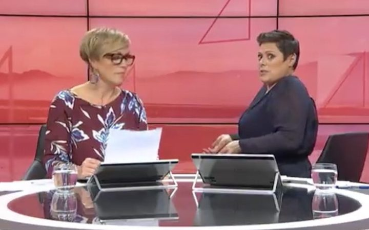 Hilary Barry and Anika Moa presenting Seven Sharp.