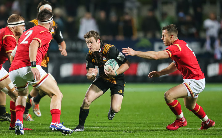 Chiefs halfback Brad Weber lines up the Welsh defense during the rugby union match - Chiefs v Wales played at FMG Stadium Waikato, Hamilton, New Zealand on Tuesday 14 June 2016.