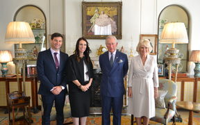 Prime Minister Jacinda Ardern and partner Clarke Gayford with Prince Charles and Duchess Camilla.