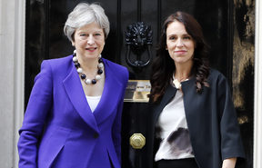 British Prime Minister Theresa May with New Zealand's Prime Minister Jacinda Ardern.