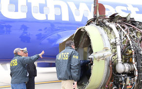 Southwest Airlines plane engine after it malfunctioned causing an accident and the death of one passenger.