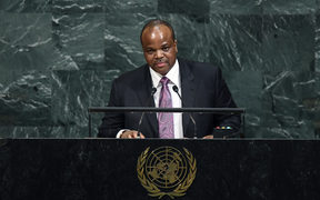 Swaziland's King Mswati III addresses the 72nd Session of the United Nations General assembly at the UN headquarters in New York on September 20, 2017.  / AFP PHOTO / Jewel SAMAD