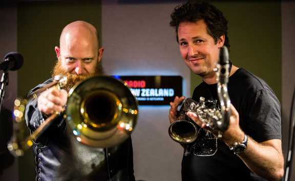 Tim Stewart (left) and Nick Atkinson (right) of Hopetoun Brown in the Auckland RNZ studio.