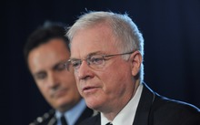 John Schmidt - pictured at a news conference in January 2014, when he was the head of the Australian Transaction Reports and Analysis Centre (AUSTRAC).
