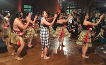 New Zealand songstress Ria Hall (in black and white dress) joins the New Zealand Maori Arts and Crafts Institute | Nga Kete Tuku Iho Kapa Haka group at the official opening of the Tuku Iho Exhibition in Rio de Janeiro