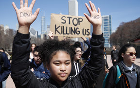Students from around the nation joined in the walkout against gun violence on the 19th anniversary of the shooting at Columbine High School where 13 people were killed.