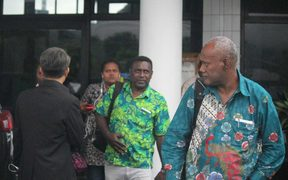 A Solomon Islands delegation arrives at Sentani Airport in Indonesia's Papua province, 24 April 2018.