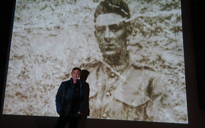 Artist Sean Winterbottom standing next to his grandfather Fred Marriott who fought at Gallipoli.