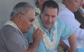 American Samoa's governor, Lolo Moliga (left) talking with Hawaiki chief executive officer Remi Galasso before the start of the Hawaiki cable landing ceremony at Tafuna, American Samoa.