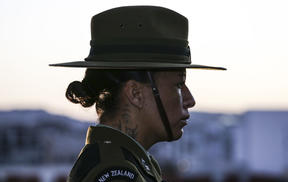 A New Zealand soldier at the Wellington Anzac Day dawn service.