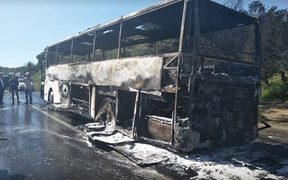 The tour bus caught fire as it was heading to the Anzac Day services in Gallipoli, Turkey.