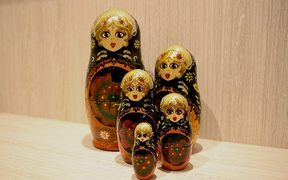 Five Russian matryoshka dolls.
