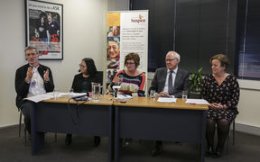 From left to right, Dr Ian Gwynne-Robson, Dr Salina Lupati, Jacqui Bowden-Tucker, Prof Rod MacLeod, Mary Schumacher