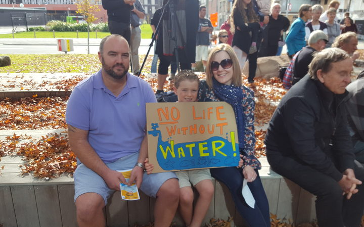 Bradley, Lachlan and Beth Tindall were among the people who turned up to see the petition get handed over the the Canterbury Regional Council.