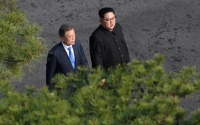 SEOUL; SOUTH KOREA - APRIL 27: South Korean president, Moon Jae-in (L) and North Korean leader Kim Jong-un