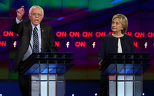 Democratic presidential candidates Bernie Sanders and Hillary Clinton during the debate.