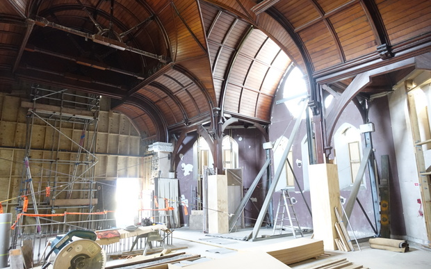 Inside the former Trinity Church, which was built in 1875 and designed by architect Benjamin Montfort.