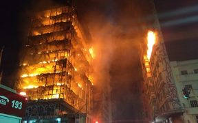 More than 150 firefighters were battling a major blaze which broke out at a high-rise building overnight in Brazil's largest city, São Paulo.